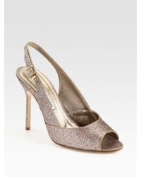 Manolo Blahnik | Metallic Glitter-coated Leather Slingback Peep Toe Pumps | Lyst