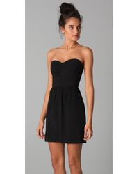 Rebecca Taylor | Black Ruched Strapless Dress | Lyst