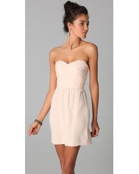 Rebecca Taylor - Pink Ruched Strapless Dress - Lyst