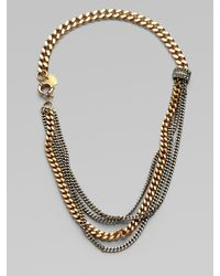 Giles & Brother - Metallic Multi-row Two-tone Chain Link Necklace - Lyst