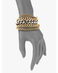 Giles & Brother - Metallic Two-tone Multi-row Chain Link Bracelet - Lyst