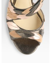 B Brian Atwood | Silver Lunetta Metallic Leather & Suede Leaf Sandals | Lyst