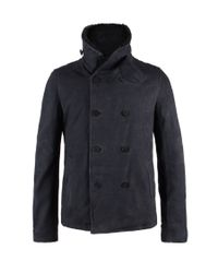 AllSaints | Black Logan Leather Pea Coat for Men | Lyst