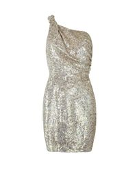 AllSaints | Metallic Velutina One Shoulder Dress | Lyst