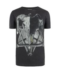 AllSaints - Black Regal S/s Cut Collar Crew for Men - Lyst
