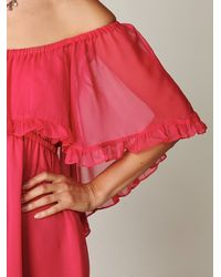 Free People | Pink Solid Babydoll Ruffle Woven Dress | Lyst