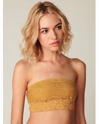 Free People | Brown Lace Trim Bandeau | Lyst