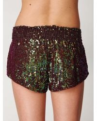 Free People - Green Sequin Boxer Short - Lyst