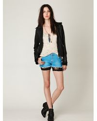 Free People | Black All Over Lace Shorts | Lyst