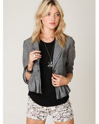 Free People | Gray Cropped Ruffle Peplum Jacket | Lyst