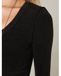 Free People | Thermal Long Sleeve Flannel Cuff in Black | Lyst