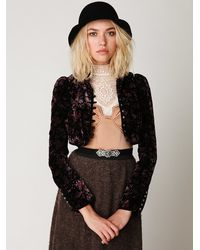 Free People | Black Cropped Velvet Jacket | Lyst