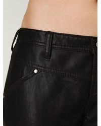 Free People   Black Vegan Leather Seamed Skinny Pant   Lyst