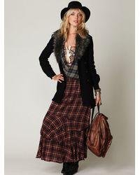 Free People | Black Fur Trimmed Wool Coat | Lyst