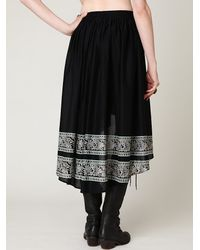 Free People | Black High Low Crinkle Skirt | Lyst