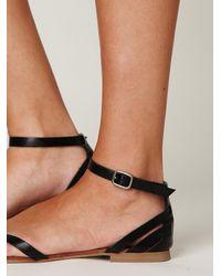 Free People - Black Lex Leather Sandal - Lyst