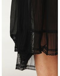 Free People | Black Sheer Pleated Slip | Lyst