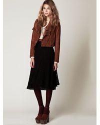Free People | Black Tea Length Crochet Skirt | Lyst