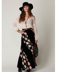 Free People | Black Twisted Velvet Maxi Skirt | Lyst