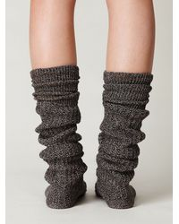 Free People | Black Rib Slouch Tall Sock | Lyst