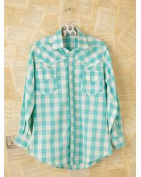Free People | Blue Vintage Plaid Buttondown Shirt | Lyst