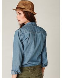 Free People | Boy Blue Denim Shirt | Lyst