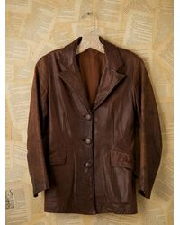 Free People - Vintage Brown Leather Blazer - Lyst