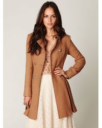 Free People | Natural Double Breasted Tie Wool Coat | Lyst