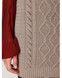 Free People - Gray Cable Knit Bodycon Sweater Skirt - Lyst