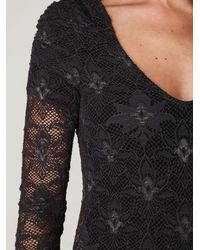 Free People - Black Nightcap Lace Bodysuit - Lyst