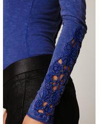 Free People | Blue Crochet Cuff Henley | Lyst