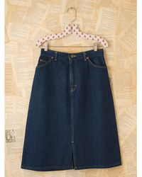 Free People | Blue Vintage Lee Riders Denim Skirt | Lyst