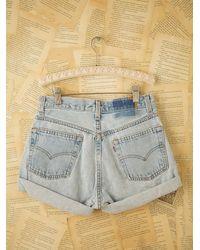 Free People | Blue Lacey Denim Cutoff Shorts | Lyst
