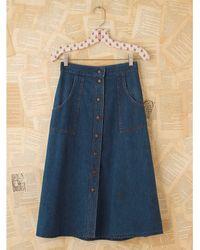 Free People | Blue Vintage Snap Front Denim Skirt | Lyst