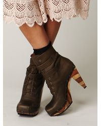 Free People | Brown Conviction Wood Heel Boot | Lyst