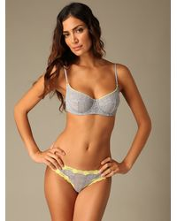 Free People - Gray Cheeky Lace Bra - Lyst