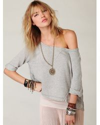 Free People - Gray French Terry Lacey Crop - Lyst