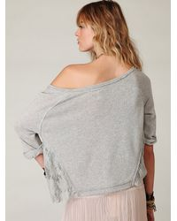 Free People | Gray French Terry Lacey Crop | Lyst