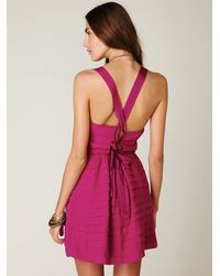 Free People - Purple Raw Cut Ruffle Tier Dress - Lyst