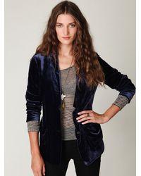 Free People | Blue Slouchy Velvet Blazer | Lyst