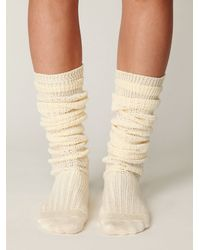 Free People | White Brisa Crochet Tall Sock | Lyst