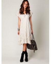 Free People | White Fp New Romantics Foil Tea Length Dress | Lyst