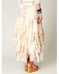 Free People - Natural Rounded Godet Maxi Skirt - Lyst