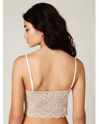 Free People - White Scalloped Lace Back Crop Top - Lyst