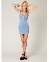 Free People - Blue Denim Corset Bodycon Slip - Lyst