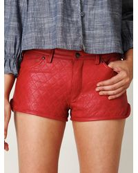 Free People - Red Quilted Leather Shorts - Lyst