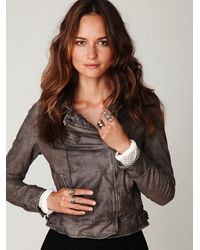 Free People | Gray Embellished Leather Jacket | Lyst