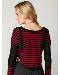 Free People | Red Bamboo Stripes Crop Top | Lyst