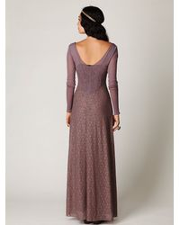 Free People | Brown Lace and Mesh Long Sleeve Slip | Lyst