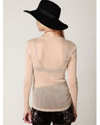 Free People - Natural Glitter Mesh Long Sleeve Layering Top - Lyst